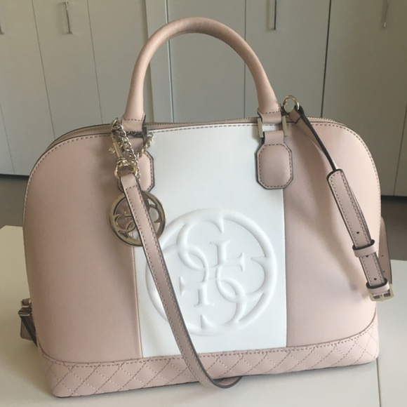 Guess Handbags - Guess Large Nude Colorblock Korry Dome Satchel Bag d220b480a79a0